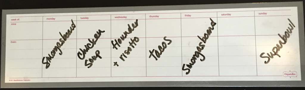 Magnetic Dry Erase Weekly Meal Calendar